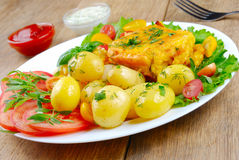 Fried fish with potatoes Royalty Free Stock Photography