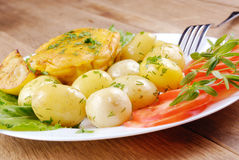 Fried fish with potatoes Stock Image