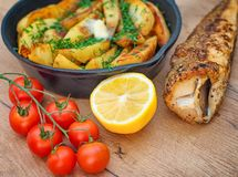 Fried fish and potatoes. Royalty Free Stock Photo