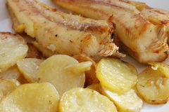 Fried fish  and potatoes Stock Photos