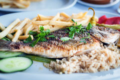 Fried fish with potatoes with vegetables on a white plate at traditional Greek tavern Royalty Free Stock Image
