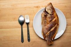 Fried Fish profond dans le plat photographie stock
