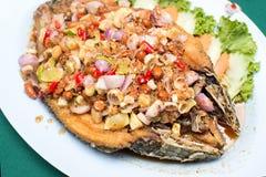 Fried Fish profundo con la hierba tailandesa Foto de archivo