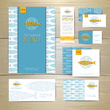 Fried fish restaurant menu concept design. Corporate identity. Document template Royalty Free Stock Photo