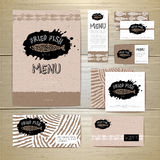 Fried fish restaurant menu concept design. Corporate identity Royalty Free Stock Photography