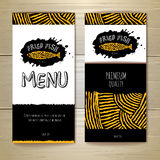 Fried fish restaurant menu concept design. Corporate identity. Document template Royalty Free Stock Photography