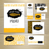 Fried fish restaurant menu concept design. Corporate identity. Document template Royalty Free Stock Images