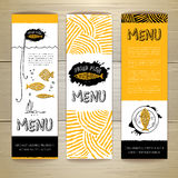 Fried fish restaurant menu concept design. Corporate identity. Set of banners Royalty Free Stock Image