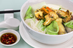 Fried fish rice noodle soup Royalty Free Stock Images