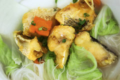 Fried fish rice noodle soup Royalty Free Stock Image
