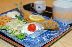 Fried fish and rice, set of Japanese food Stock Photos