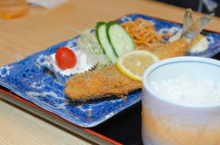 Fried fish and rice, set of Japanese food Stock Photo