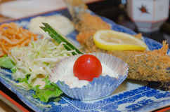 Fried fish and rice, set of Japanese food Royalty Free Stock Image