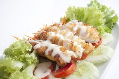 Fried Fish Salad Royalty Free Stock Photo