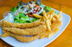 Fried fish with salad. Stock Images