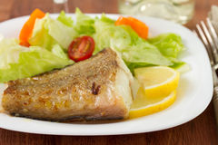 Fried fish with salad and lemon Royalty Free Stock Photo