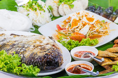 Fried fish with salad from Thai food Royalty Free Stock Photography