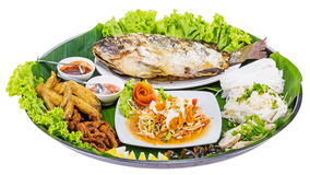 Fried fish with salad from Thai food Stock Photo