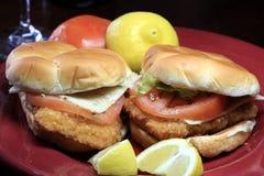 Fried fish sandwich on a bun Royalty Free Stock Photography