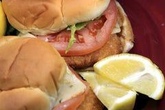 Fried fish sandwich on a bun Royalty Free Stock Photo