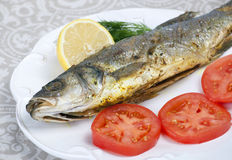 Fried fish sea bass Stock Images