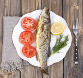 Fried fish sea bass Royalty Free Stock Image