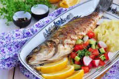 Fried fish served with mashed potato, lemon slice and vegetables salad Stock Photo
