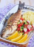 Fried fish served with mashed potato, lemon slice and vegetables salad Stock Photography