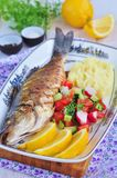 Fried fish served with mashed potato, lemon slice and vegetables salad Stock Image