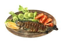 Fried fish served on a platter Royalty Free Stock Photography