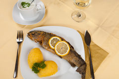 Fried Fish served with side salad, and mash Royalty Free Stock Photo