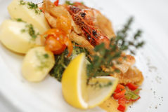 Fried fish with shrimps Stock Photos