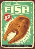 Fried fish steak vintage sign. For seafood restaurant. Food vector illustration royalty free illustration