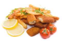 Fried fish sticks with french fries Royalty Free Stock Photo