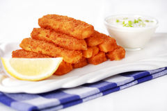 Fried fish sticks with remoulade Stock Photos