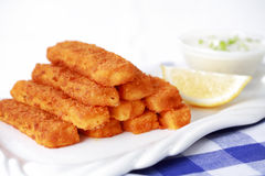 Fried fish sticks with remoulade Royalty Free Stock Images