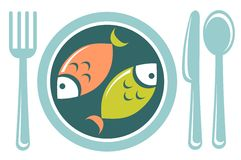 Fried fish. Stylized fried fish and tableware isolated on a white background Stock Photos