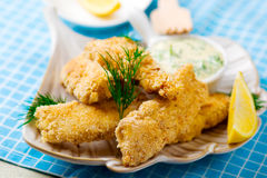 Fried fish with tartare sauce Royalty Free Stock Photos