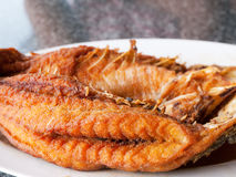 Fried fish at Thai restaurant. Fried snapper at a seafood restaurant in Thailand. Shallow depth of field stock photo
