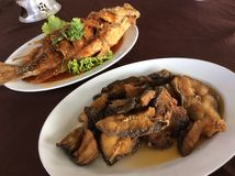 Fried fish Thai style. Cooking with chili sauce and fish sauce Stock Photography