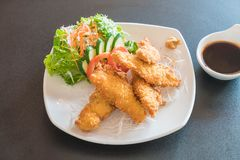 fried fish with tonkatsu sauce Royalty Free Stock Images