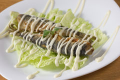 Fried fish under mayonnaise. Fried fish on lettuce leaves under mayonnaise Stock Images
