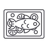 Fried fish vector line icon, sign, illustration on background, editable strokes. Fried fish vector line icon, sign, illustration on white background, editable Stock Photography
