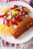 Fried fish with vegetable salad and lemon closeup. vertical top Stock Photo
