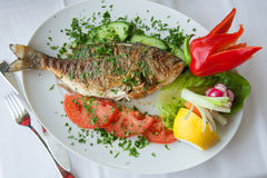 Fried fish with vegetables Stock Image