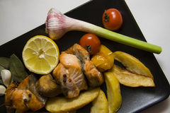 Fried fish with vegetables Royalty Free Stock Image