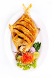 Fried fish and vegetables Royalty Free Stock Images