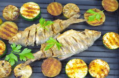 Fried fish with vegetables. On  grill Royalty Free Stock Photography