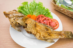 Fried fish with vegetables on plate. Fried fish with vegetables on white plate Royalty Free Stock Images