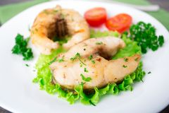 Fried fish and vegetables Royalty Free Stock Image